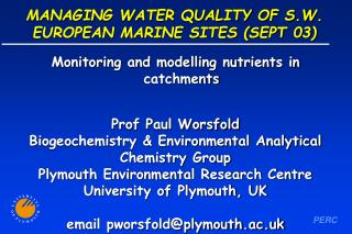 MANAGING WATER QUALITY OF S.W. EUROPEAN MARINE SITES (SEPT 03)