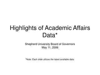 Highlights of Academic Affairs Data*