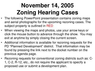 November 14, 2005  Zoning Hearing Cases