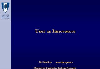 User as Innovators