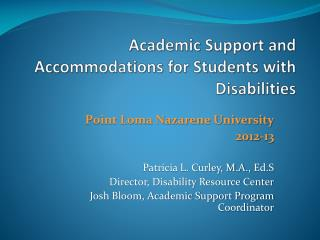 Academic Support and Accommodations for Students with Disabilities