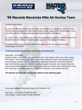 �99 Macomb Mavericks Mite AA Hockey Team