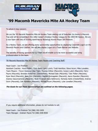 '99 Macomb Mavericks Mite AA Hockey Team