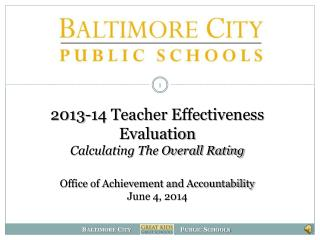 2013-14 Teacher Evaluation Update
