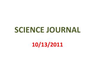 SCIENCE JOURNAL