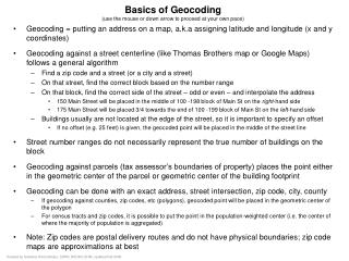 Basics of Geocoding (use the mouse or down arrow to proceed at your own pace)