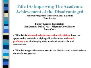 Title IA-Improving The Academic Achievement of the Disadvantaged
