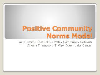 Positive Community Norms Model
