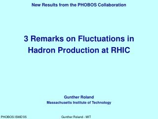 3 Remarks on Fluctuations in Hadron Production at RHIC