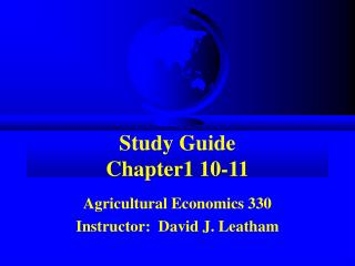Study Guide Chapter1 10-11