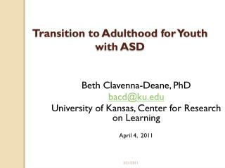 Transition to Adulthood for Youth with ASD