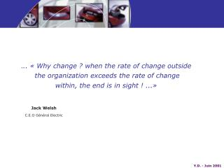 . .. « Why change ? when the rate of change outside  the organization exceeds the rate of change