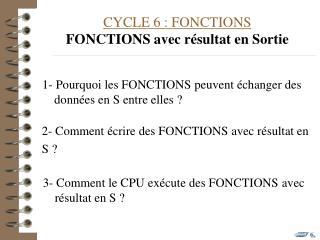 CYCLE 6 : FONCTIONS FONCTIONS avec résultat en Sortie