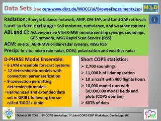 Data Sets  ( see cera-dkrz.de/WDCC/ ui /BrowseExperiments.jsp )