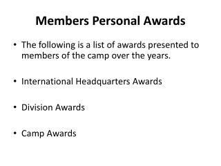 Members Personal Awards