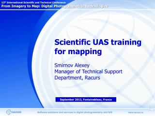 Scientific UAS training for mapping Smirnov Alexey