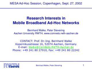 MESA Ad-Hoc Session, Copenhagen, Sept. 27, 2002