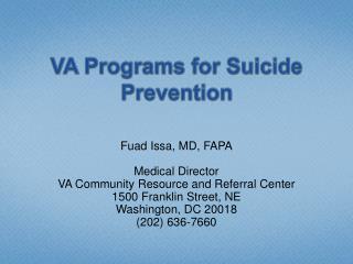 VA Programs for Suicide Prevention