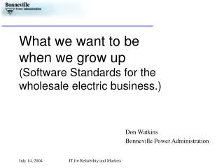 What we want to be  when we grow up (Software Standards for the wholesale electric business.)
