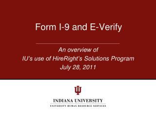 Form I-9 and E-Verify