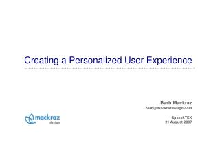 Creating a Personalized User Experience
