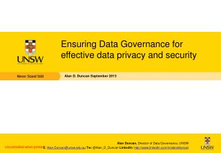 Ensuring Data Governance for effective data privacy and security