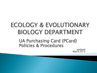 ECOLOGY & EVOLUTIONARY BIOLOGY DEPARTMENT