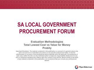SA LOCAL GOVERNMENT PROCUREMENT FORUM