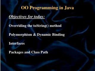 OO Programming in Java