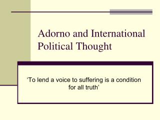 Adorno and International Political Thought