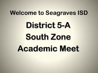 Welcome to Seagraves ISD