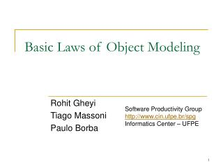 Basic Laws of Object Modeling
