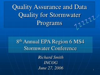 Quality Assurance and Data Quality for Stormwater Programs