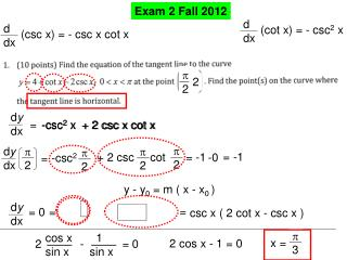 Exam 2 Fall 2012