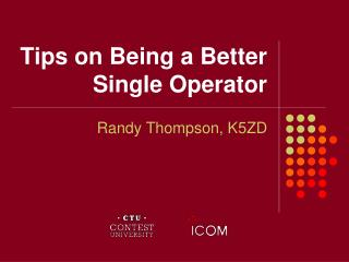 Tips on Being a Better Single Operator