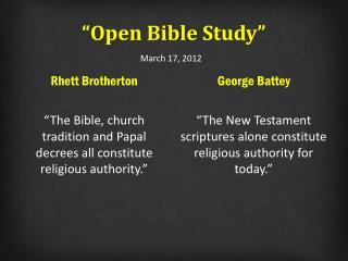 """Open Bible Study"""