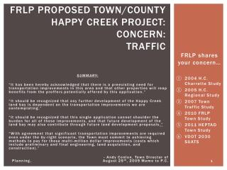 FRLP Proposed town/county happy creek project: Concern:  Traffic