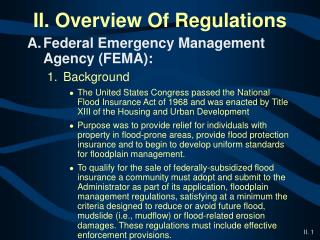 II. Overview Of Regulations