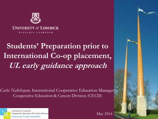 Students' Preparation prior to International Co-op placement, UL early guidance approach