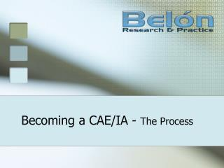 Becoming a CAE/IA -  The Process