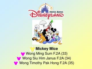 Mickey Mice Wong Ming Sum F.2A (33) Wong Siu Him Janus F.2A (34) Wong Timothy Pak Hong F.2A (35)