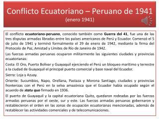 Conflicto Ecuatoriano – Peruano de 1941 (enero 1941)