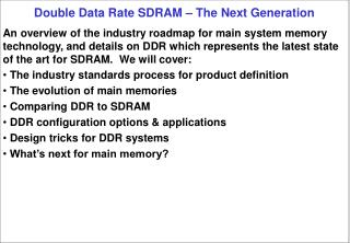 Double Data Rate SDRAM – The Next Generation