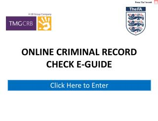 ONLINE CRIMINAL RECORD  CHECK E-GUIDE