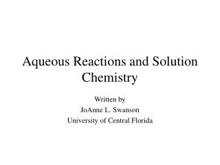 Aqueous Reactions and Solution Chemistry
