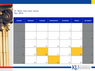 FY 2014 Year-End Dates May 2014