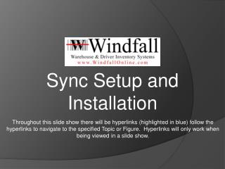 Sync Setup and Installation