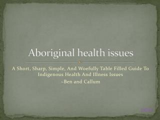Aboriginal health issues