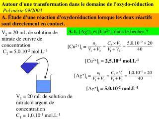 Autour d'une transformation dans le domaine de l'oxydo-réduction Polynésie 09/2003