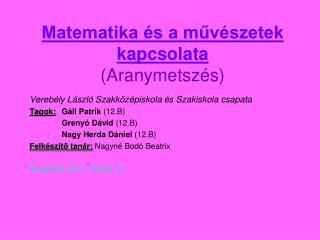 Matematika és a művészetek kapcsolata (Aranymetszés)